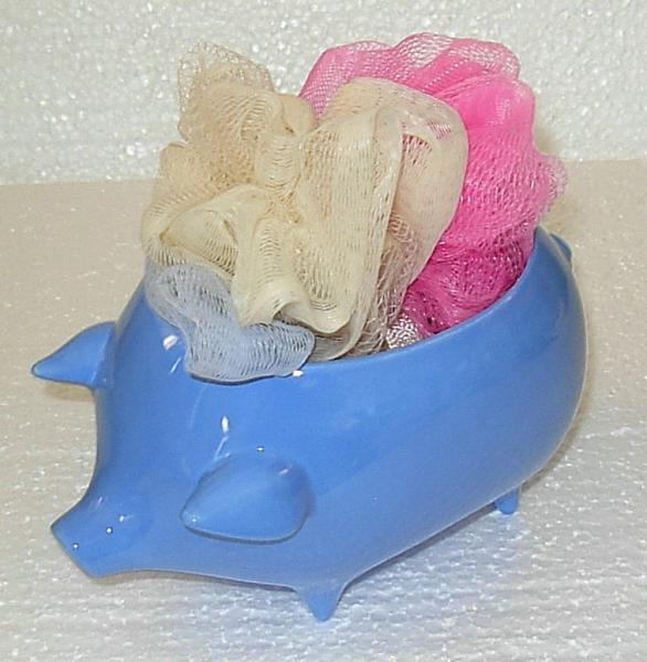 Ceramic Pig Planter / Soap Dish / Scrubby Holder - BlueBonnett Glaze
