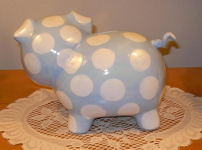 Large Ceramic Piggy Bank  -  Vintage Design  -   Baby Blue with White Polka Dots