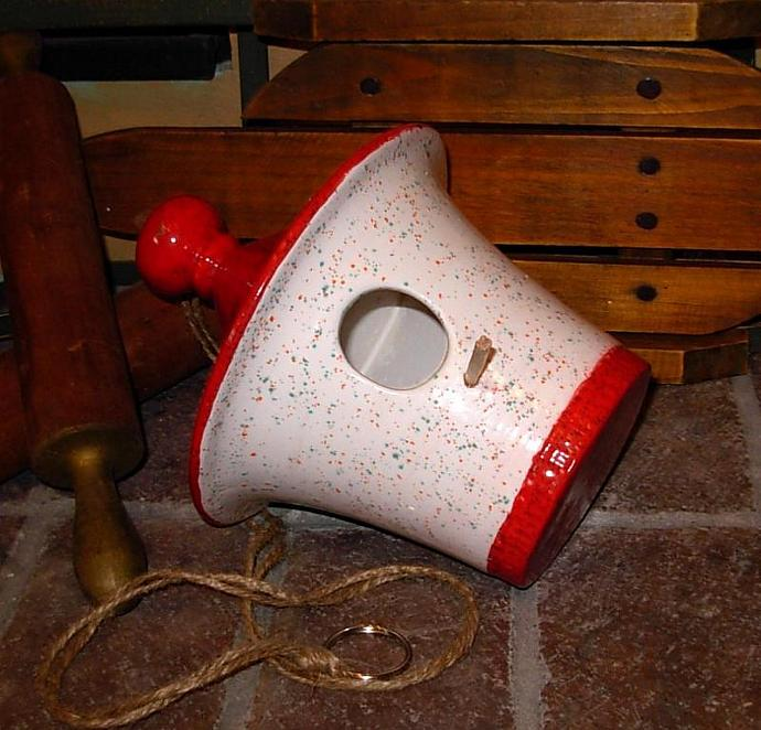 Hanging Ceramic Bird House - White with Ruby Red Roof