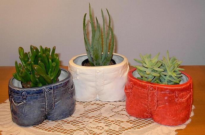 Blue Jeans Planters  -  Set of Three  -  Candy Dish  -  Salsa Bowl   -   Red,