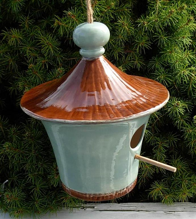 Hanging Ceramic Bird House - French Blue with Espresso Brown Roof