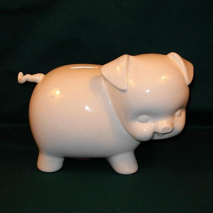 Large Ceramic Piggy Bank   -  Vintage Design    -   Yellow with Aqua Polka Dots