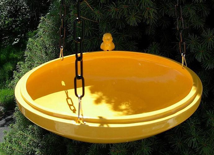Hanging Bird Feeder / Bird Bath  -  Yellow