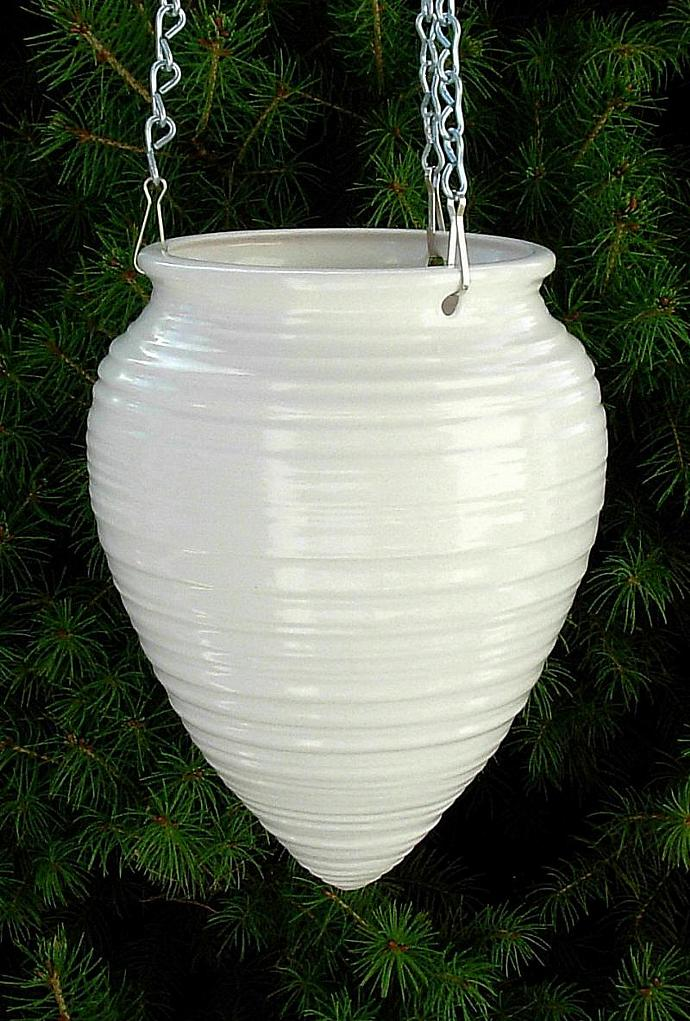 Ceramic Hanging Planter  -  Classic White glaze