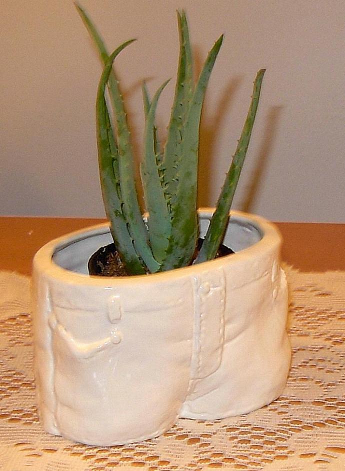 Blue Jeans Planter  -  Candy Dish  -  Salsa Bowl   -   Vintage White