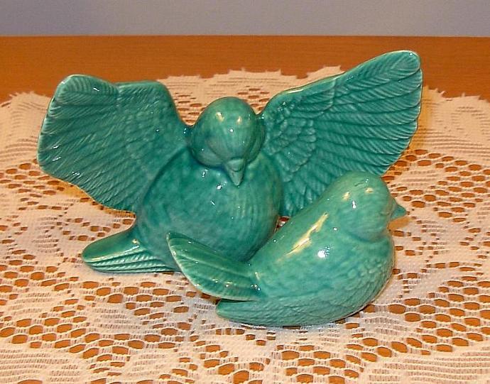 "Love Doves Wedding Cake Topper Ceramic Bird Figurines   -   ""Sea Mist Green"""