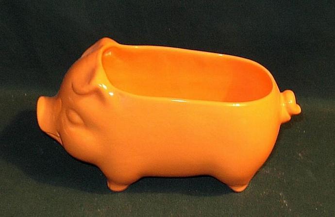 Ceramic Pig Planter / Soap Dish / Scrubby Holder - Pumpkin Orange