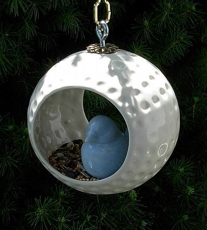Hanging Bird Feeder / Hanging Planter / Air Pod Planter  -  Classic White Glaze