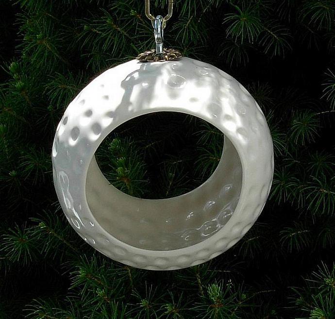 Hanging Bird Feeder / Hanging Planter / Air Pod Planter  -  Classic White Glaze