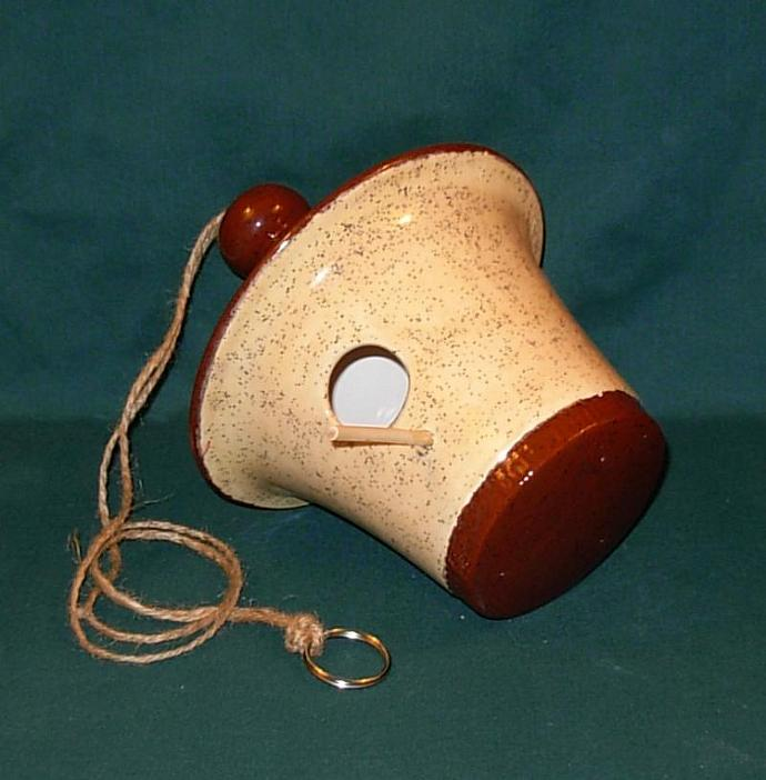Hanging Ceramic Bird House  -  Tan and Brown Roof