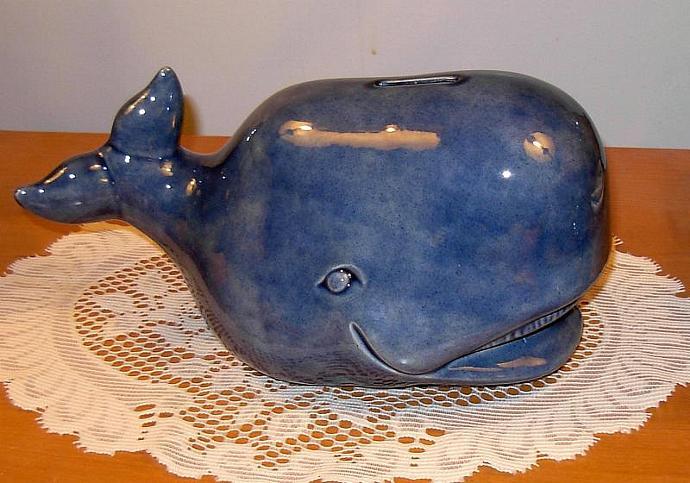 """Large Whale Piggy Bank  / Whale Coin Bank  -  """"Denim"""""""