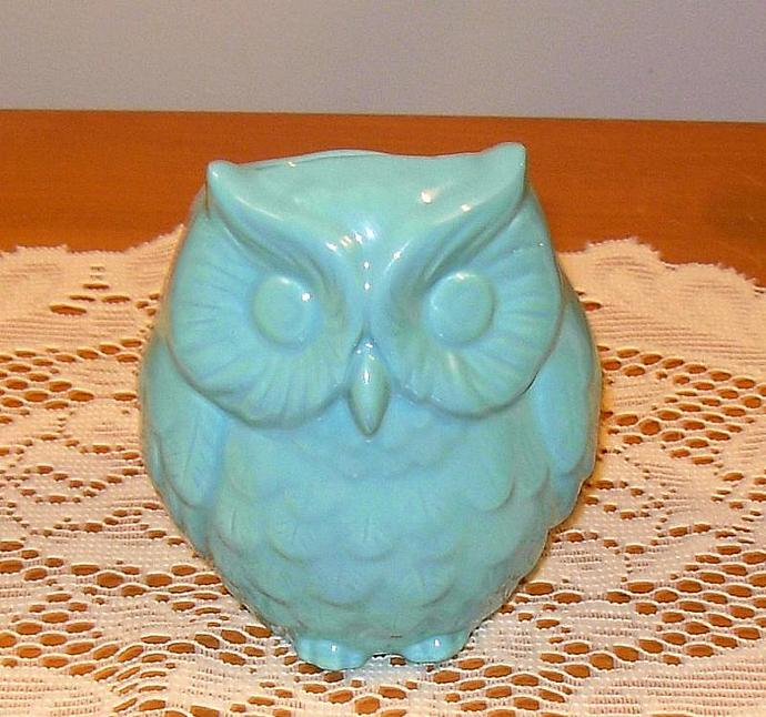 Hootie - Ceramic Owl Planter / Owl Vase - Turquoise