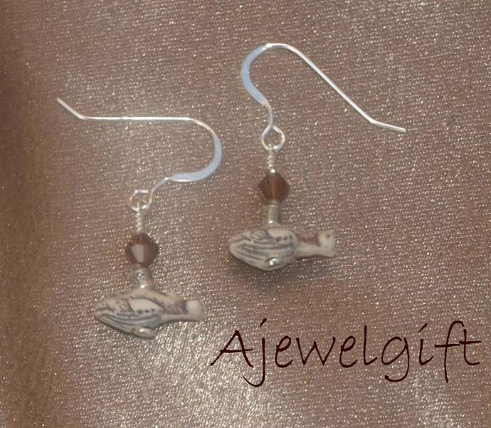 Earthy Humpback Whale Earrings (9090)