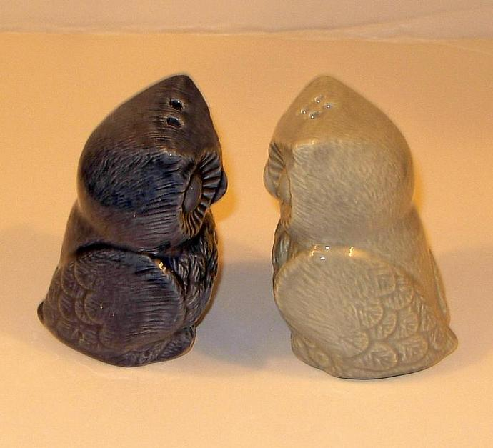 Hootie Hoot Hoot - Ceramic Owl Salt and Pepper Shakers  -  Dark Blue and Celedon