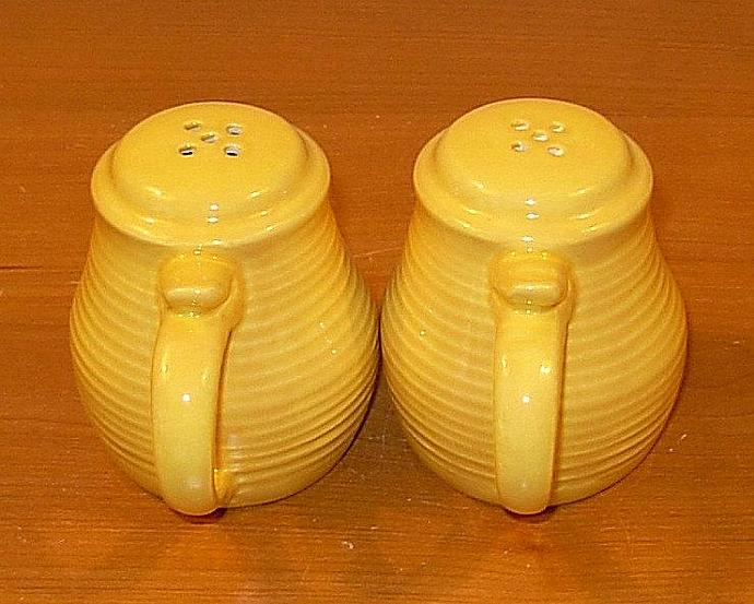 Pottery Salt and Pepper Shakers  -  Yellow
