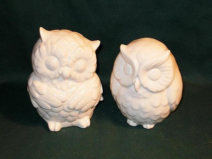 Hootie - Ceramic Owl Figurines Wedding Cake Topper    -   Classic White