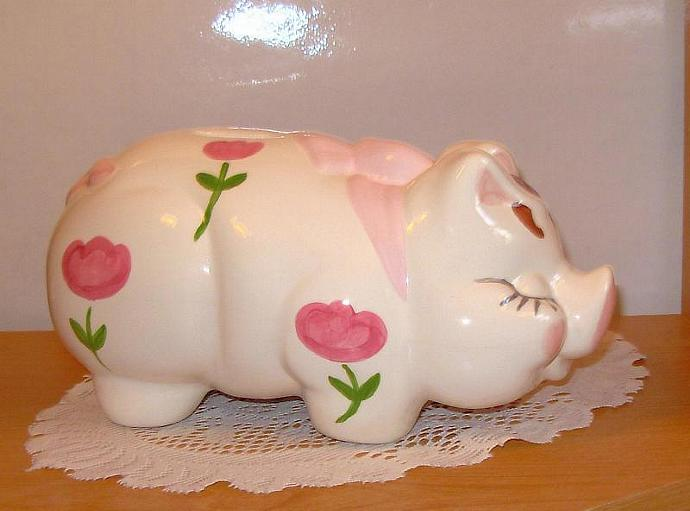 Large Personalized Ceramic Piggy Bank - Vintage Design - Pink Flowers