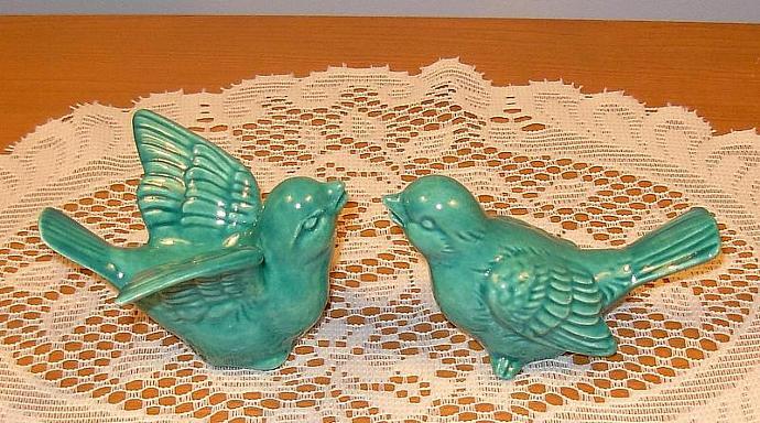 "Love Birds Wedding Cake Topper Ceramic Bird Figurines   -   ""Sea Mist Green"""
