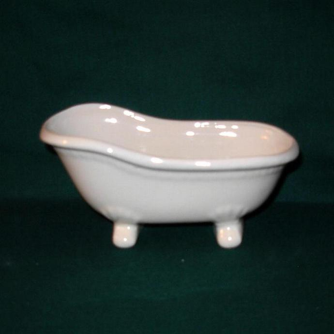 "Bathtub Soap Dish / Candy Dish / Business Card Holder - ""Vintage White"""
