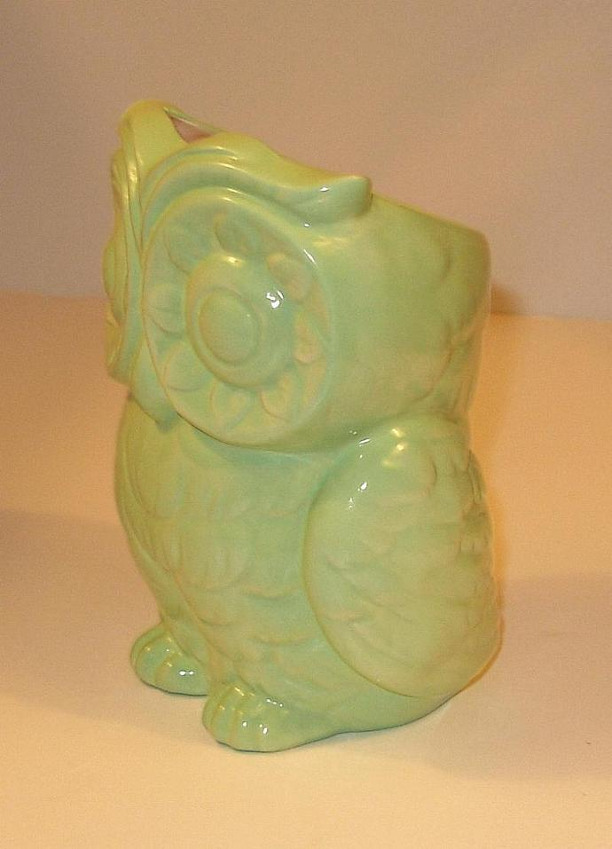 Tiki Owl Ceramic Owl Planter - Vintage Design  -  Iced Mint Green