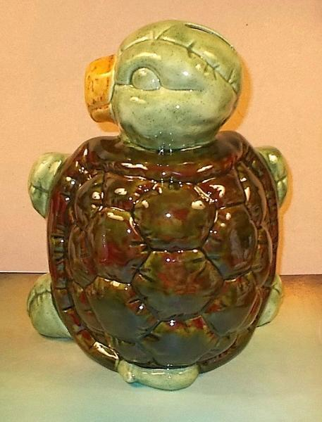 "Large Terrapin Turtle Bank  / Turtle Bank / Piggy Bank  -  ""Shades of Green"""