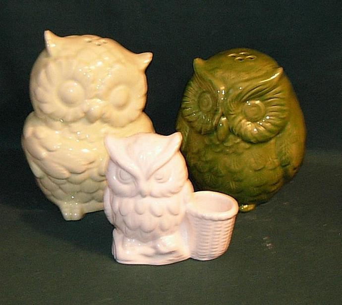 Hootie Owl Salt and Pepper Shakers  -  White and Spring Green