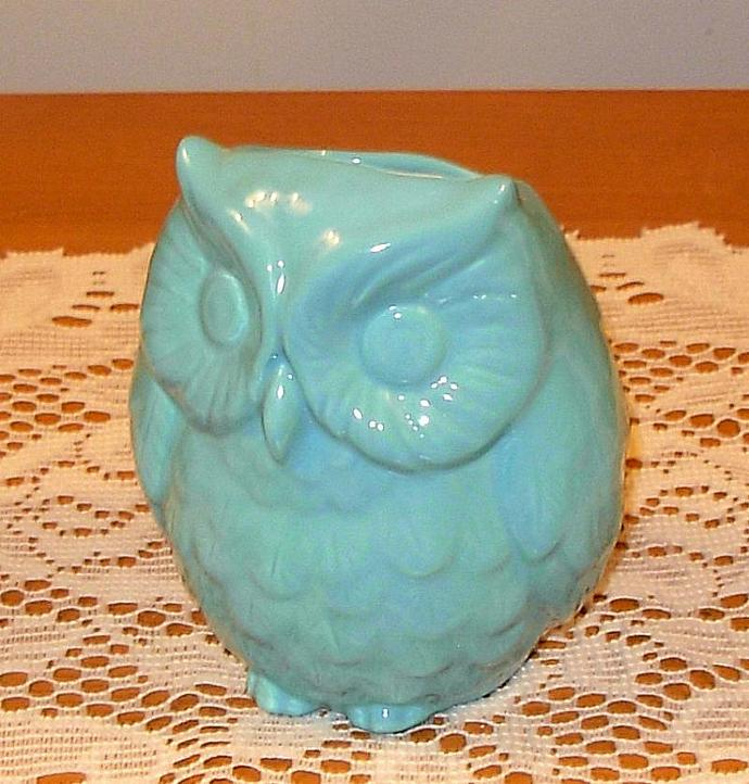 Hootie - Ceramic Owl Planter / Owl Vase / Pencil Holder - Turquoise