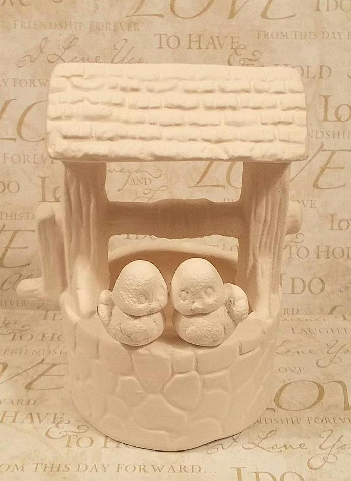 Love Birds Wishing Well Cake Topper  -  Wedding Cake Topper
