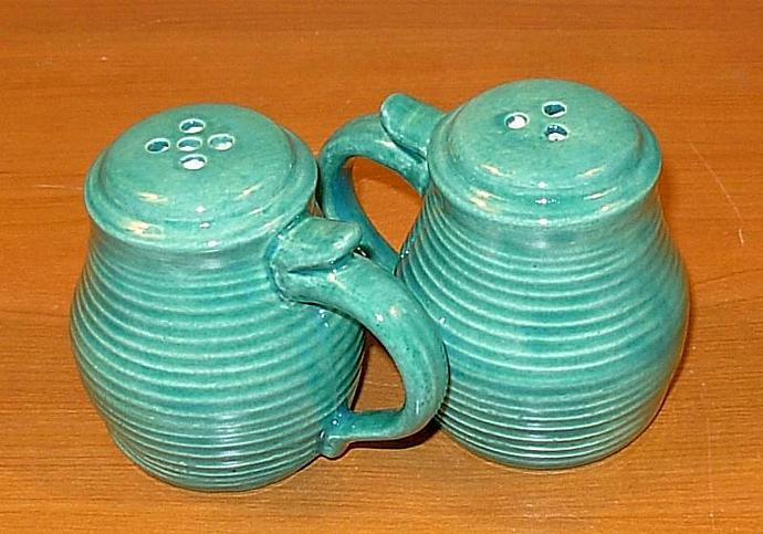 Pottery Salt and Pepper Shakers  -  Sea Green