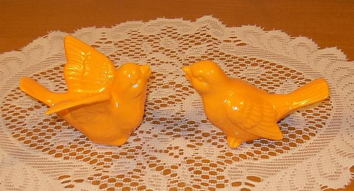 "Love Birds Wedding Cake Topper Ceramic Bird Figurines  -   ""Pumpkin Orange"""