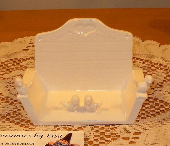 Ceramic Wooden Bench with Birdies Business Card Holder - Classic White - Vintage