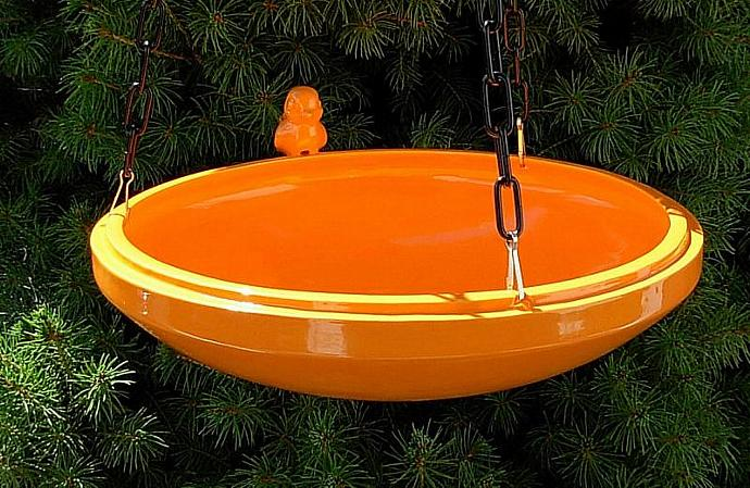 Hanging Bird Feeder / Bird Bath - Orange