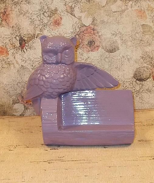 Ceramic Owl Business Card Holder - Lilac - Vintage Design