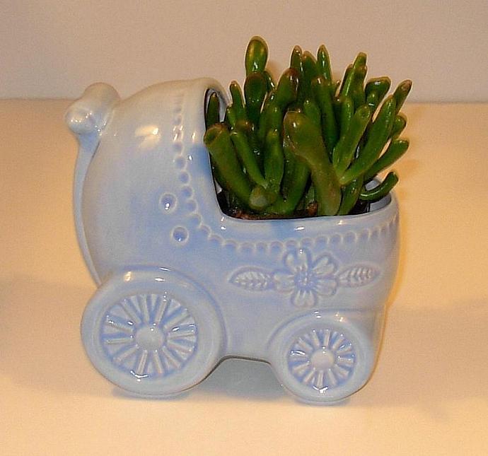 Baby Buggy Ceramic Planter / Soap Dish / Scrubby Holder - Baby Blue Glaze