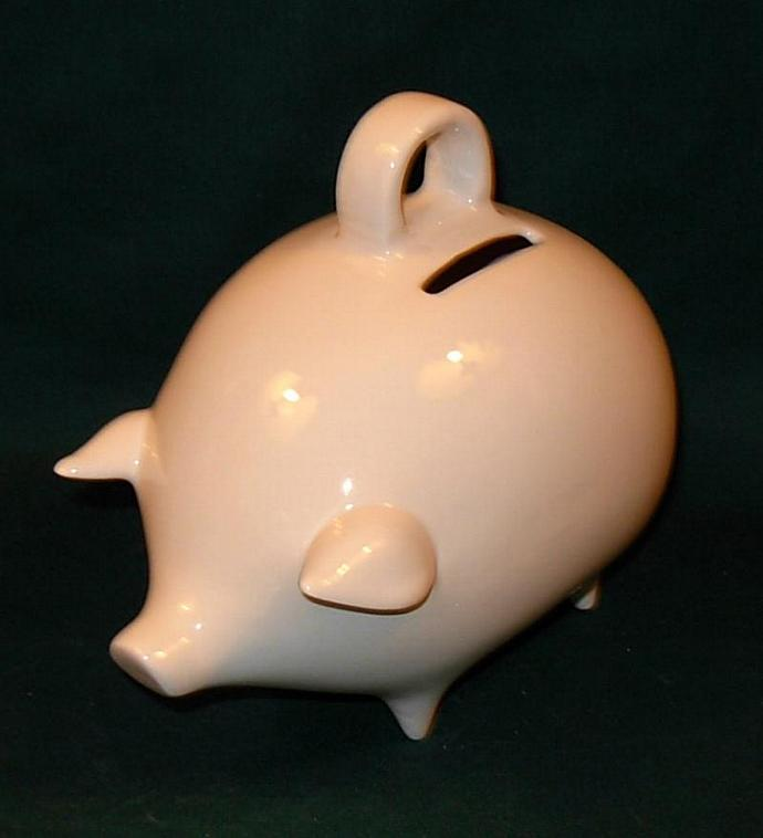 Ceramic Piggy Bank  -  Vintage Design  -  Classic White Glaze