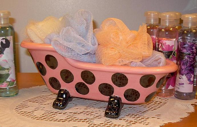 Old Fashioned Claw Foot Bathtub Soap Holder / Planter  -  Hot Pink with Black