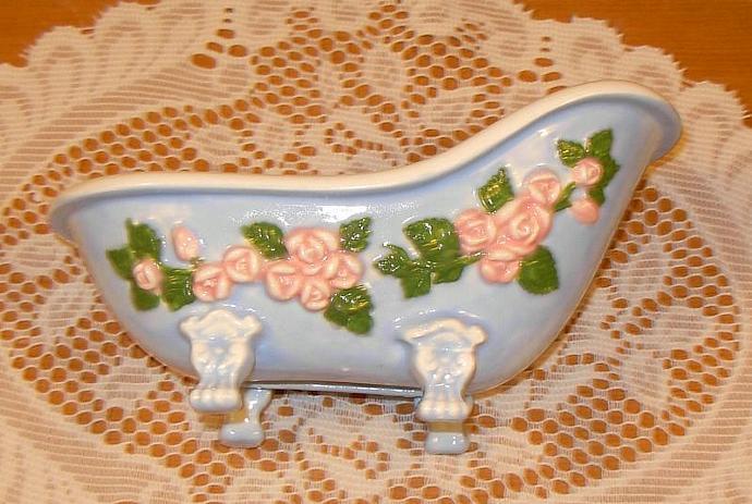 Victorian Claw Foot Bathtub Planter / Soap Dish   -   Blue w/ Pink Floral Spray
