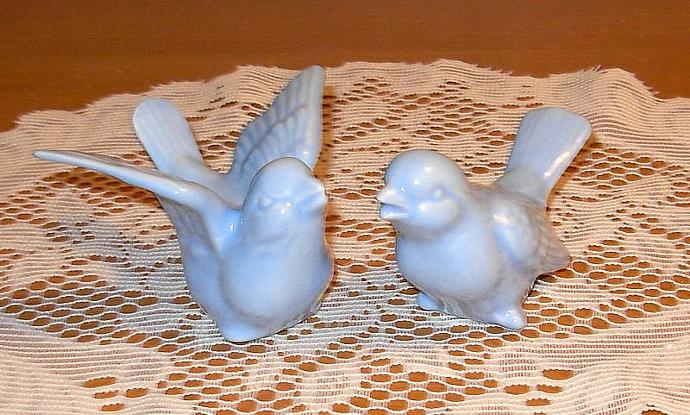 "Ceramic Love Birds Wedding Cake Topper Bird Figurines -  ""Baby Blue"" glaze"