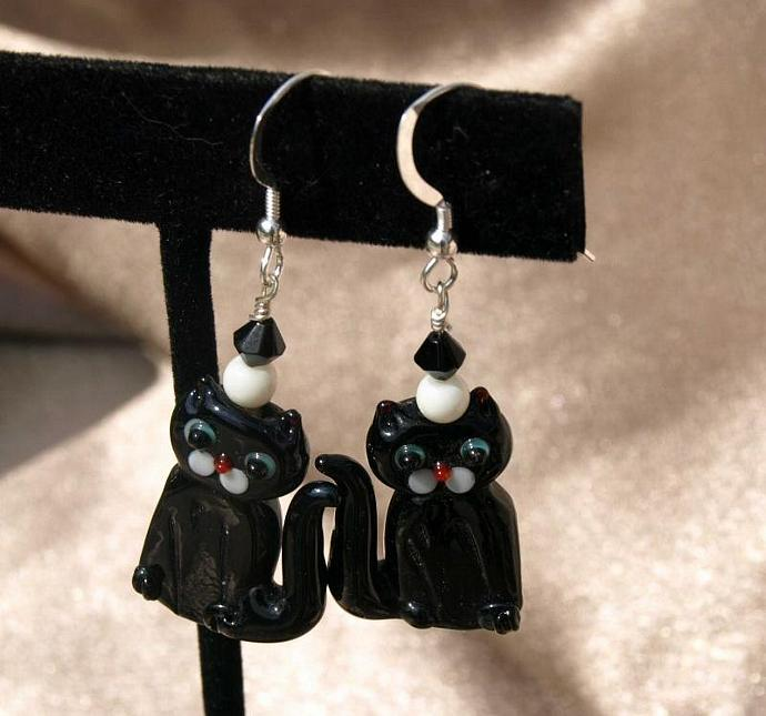 Black Cat Earrings -9010