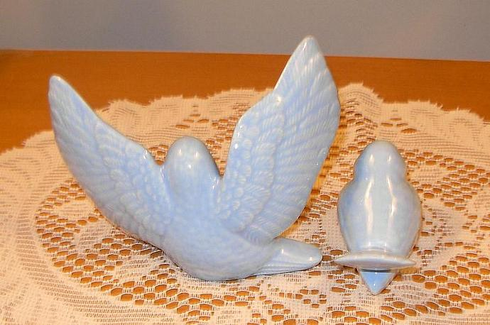 "Ceramic Love Doves Wedding Cake Topper   -   ""Baby Blue""  -  Summer Sale.  35.00"