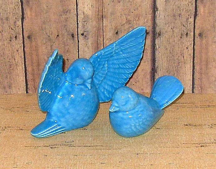 Love Doves Wedding Cake Topper Ceramic Bird Figurines    -     Caribbean Blue