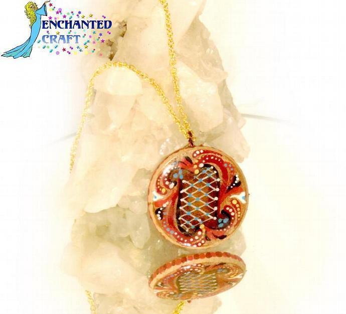 Rosemaling fancy lattice pendant