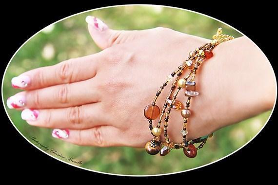Amber/Tigereye/Crystal Bracelete