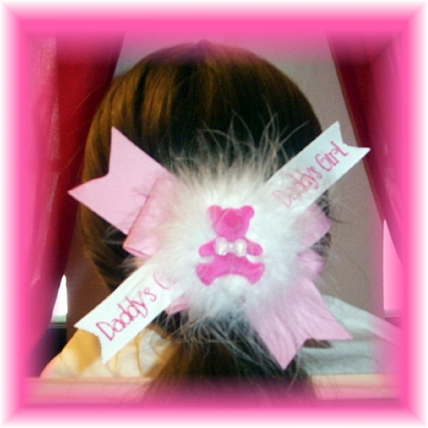 Daddy's Girl Pink Teddy Bear Hair Bow with Marabou FREE SHIPPING