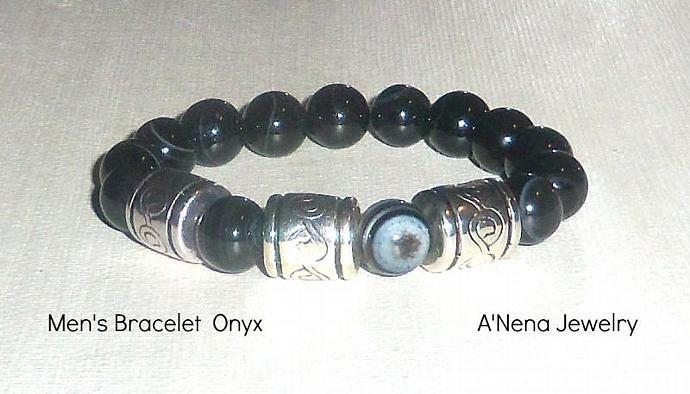 """Bracelet For Men Genuine Onyx """"Love"""""""