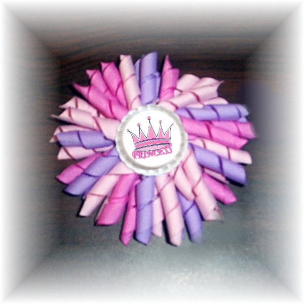 Pink Lavender PRINCESS Bottle Cap Korker Hair Bow FREE SHIPPING