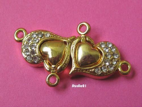 1 pcs Bright Gold Finish Heart Shape Magnetic Clasps with Rhinestone