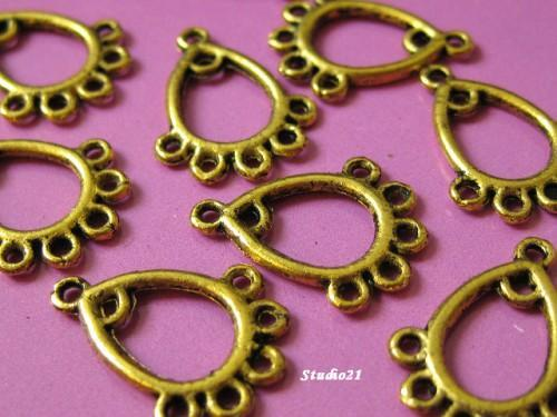 40 pieces of Tibet Antique Gold Finish 1 to 5 Connector