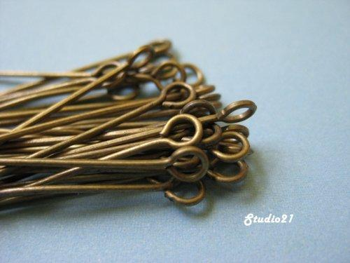 100 pcs of 1-1/4 Inch Antique Brass Finish Eyepins