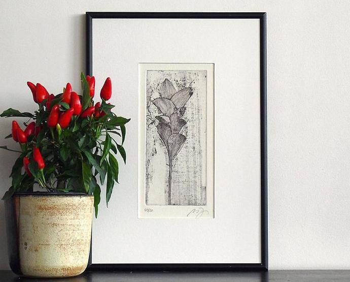 Original Fine Art Etching TUSCAN SPRING Garden Wall Decor Floral Print Limited